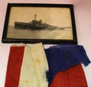 Dutch WWII period photograph of the ship Abraham Crijnssen, with a fragment of flag material. The
