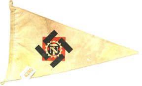 German WWII Teno re-enactment printed pennant, L: 35 cm. P&P Group 1 (£14+VAT for the first lot