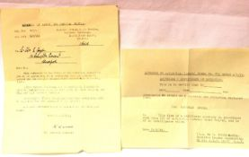 British WWII certificate of retention for One Japanese Sword dated 1945 but unissued, and a later