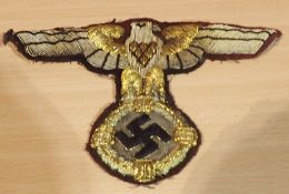 German Third Reich SA large embroidered cloth eagle, possibly removed from a flag or large