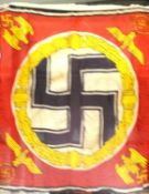 German WWII aged reproduction printed cotton Hitler standard flag, stamped Berlin 1939, 80 x 90