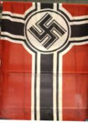 German WWII aged reproduction printed cotton Reichskriegsflagge battle flag, 90 x 140 cm. P&P
