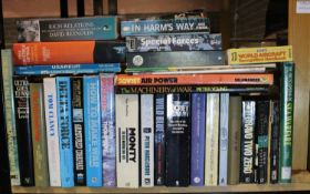Shelf of military and military history books. Not available for in-house P&P, contact Paul O'Hea