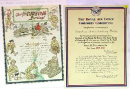 British WWII Kings Liverpool 1942 dated Christmas letter, mounted on card, and an RAF Comforts