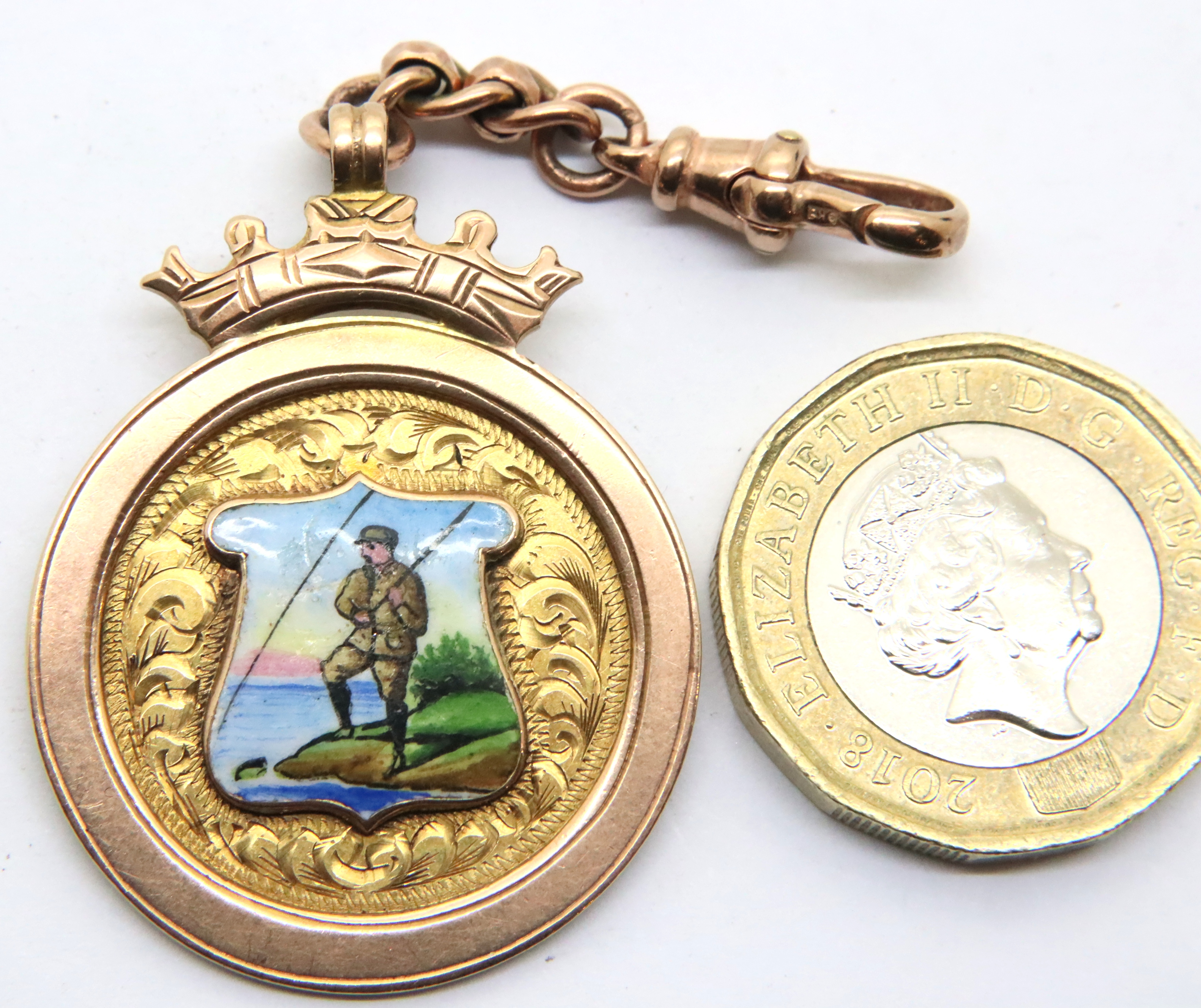 Antique 1923 Chester 9ct rose gold and enamel fishing medal/pocket watch fob by Thomas Fattorini,
