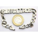 925 silver ID bracelet, named Sir Wallace, 20g. P&P Group 1 (£14+VAT for the first lot and £1+VAT