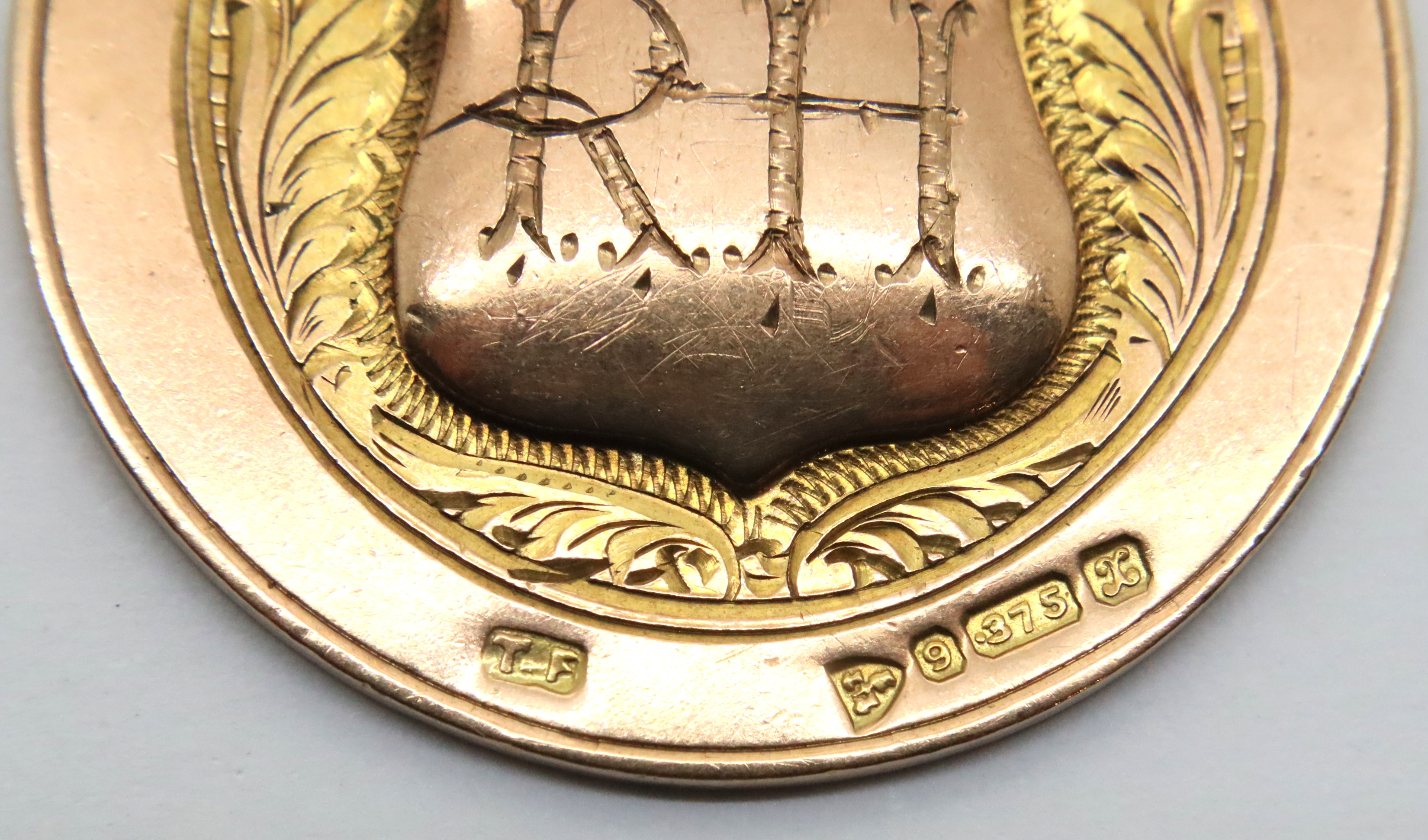 Antique 1923 Chester 9ct rose gold and enamel fishing medal/pocket watch fob by Thomas Fattorini, - Image 3 of 3