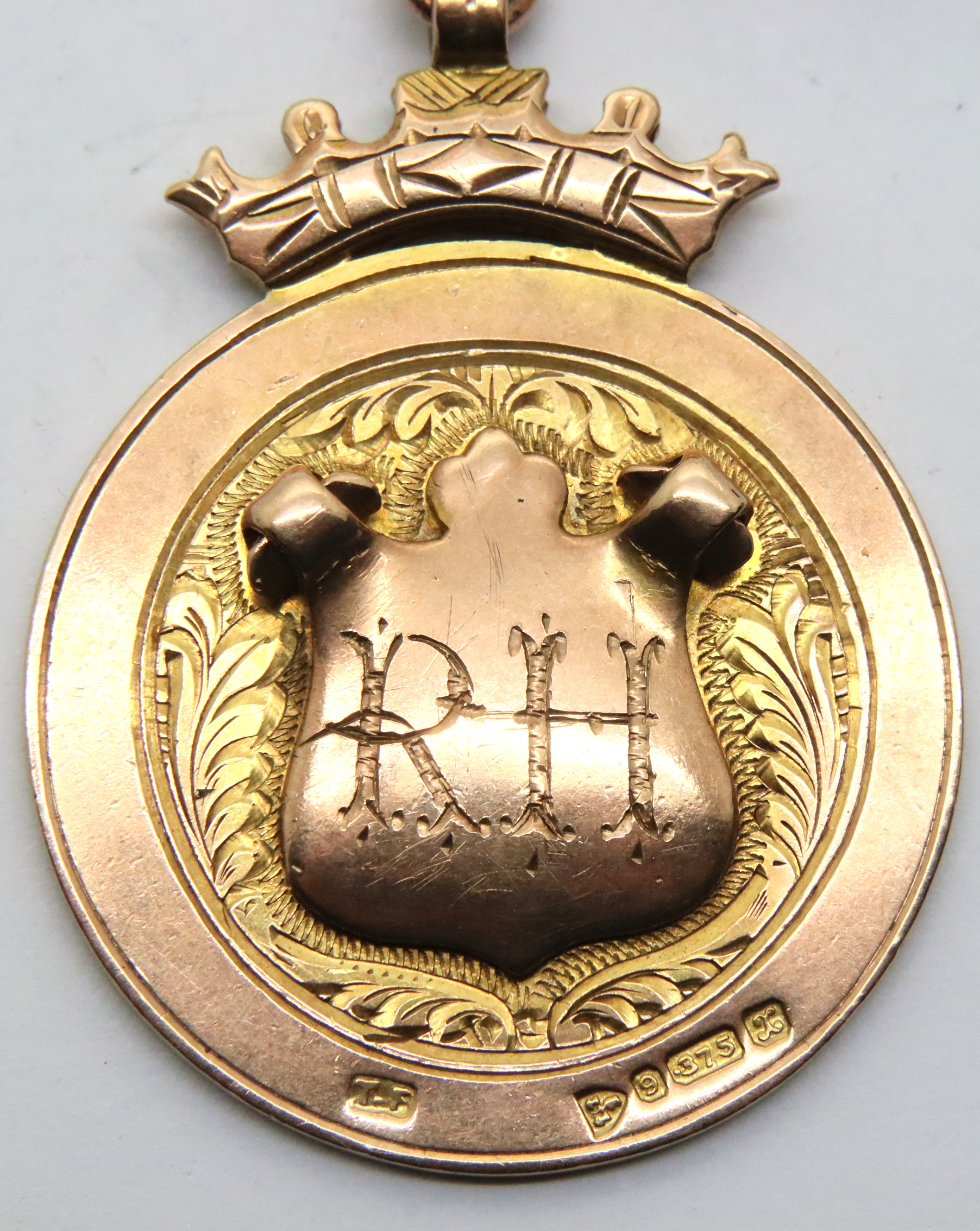 Antique 1923 Chester 9ct rose gold and enamel fishing medal/pocket watch fob by Thomas Fattorini, - Image 2 of 3