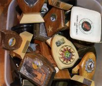 Box of mixed trophies and shields. Not available for in-house P&P, contact Paul O'Hea at Mailboxes