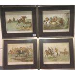 Set of four hunting prints from The Mickledale Hunt series. Not available for in-house P&P,