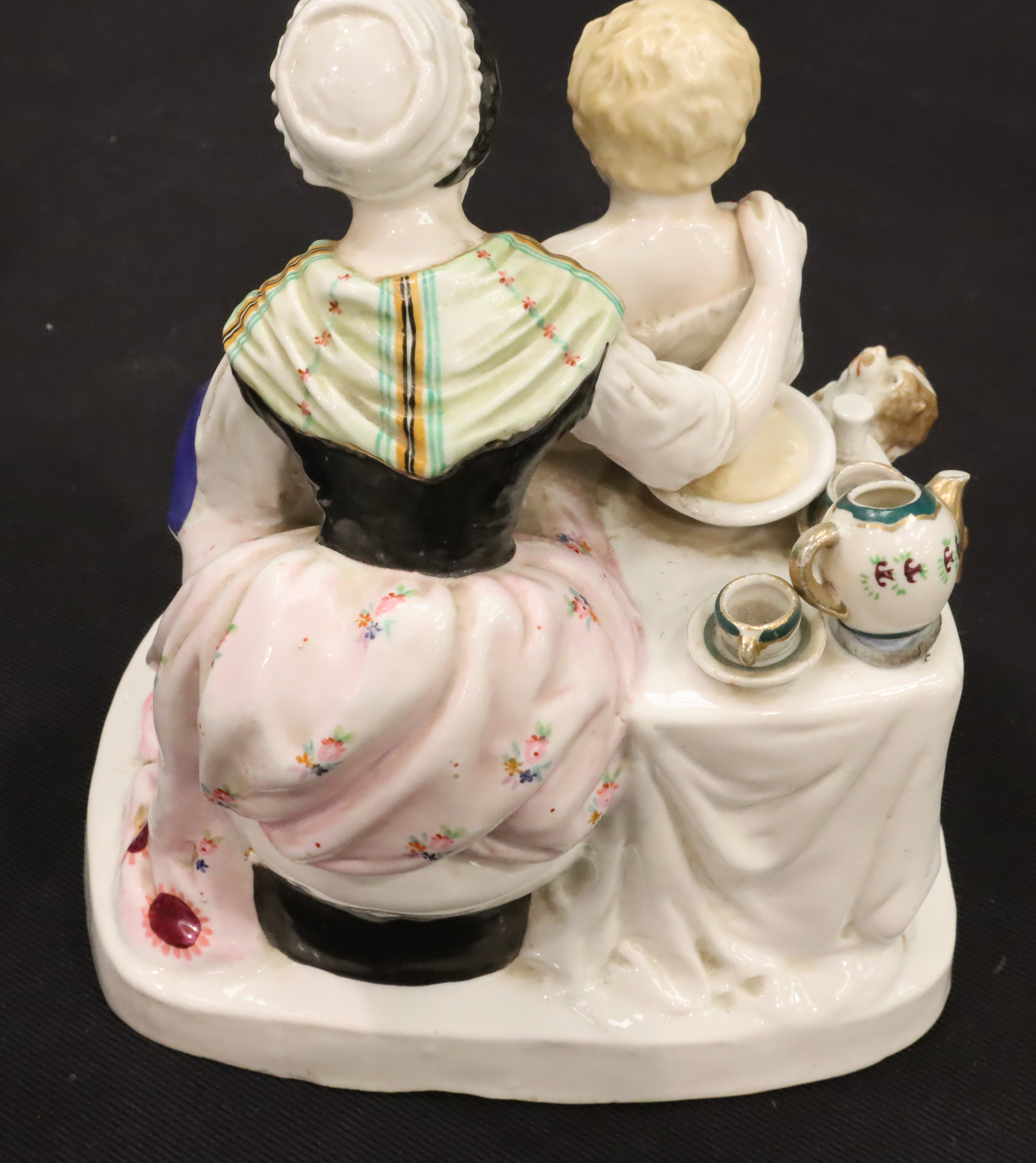 Continental woman and boy figurine, H: 21 cm. P&P Group 2 (£18+VAT for the first lot and £3+VAT - Image 2 of 3