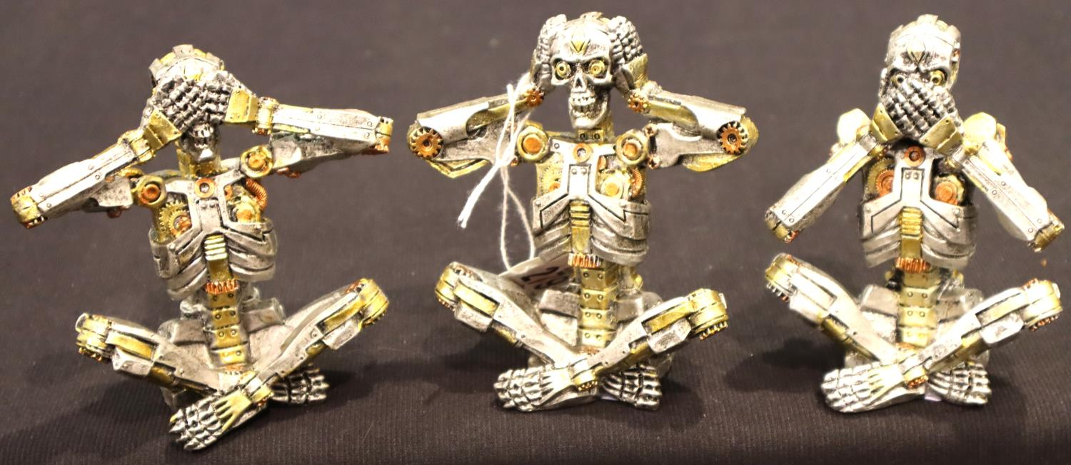 Steampunk style skeletons to include speak, see and hear no evil. P&P Group 2 (£18+VAT for the first