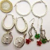 Four pairs of 925 silver earrings, 18g. P&P Group 1 (£14+VAT for the first lot and £1+VAT for