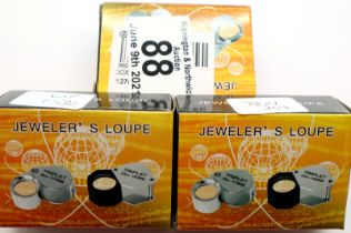 Three old new stock 30 x 21 stainless steel jewellery loupes. P&P Group 1 (£14+VAT for the first lot