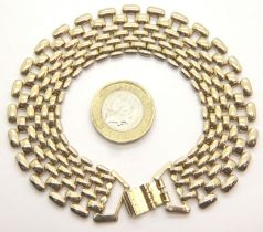 Unmarked yellow metal bracelet of graduated links, L: 19 cm, 28.6g. P&P Group 1 (£14+VAT for the