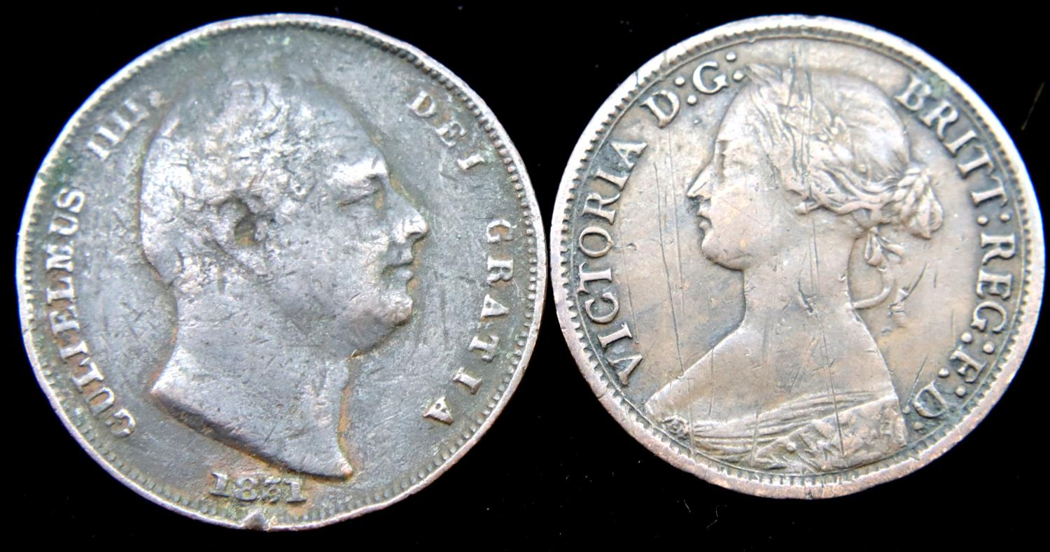 Two farthings, 1831 and 1864. P&P Group 1 (£14+VAT for the first lot and £1+VAT for subsequent lots) - Image 2 of 2