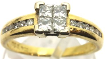 18ct gold and diamond four stone diamond ring with diamond shoulders in Goldsmiths box, size N, 3.