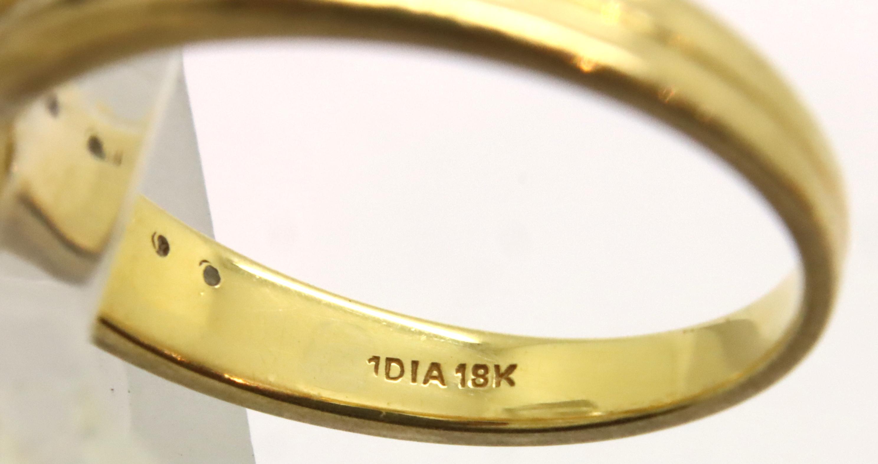18ct gold diamond set half eternity ring, Size M, 3.2g, with Goldsmiths box. P&P Group 1 (£14+VAT - Image 2 of 2