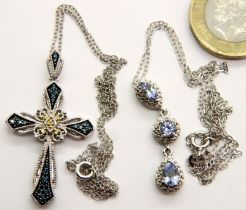 Two silver necklaces, combined 7g. P&P Group 1 (£14+VAT for the first lot and £1+VAT for