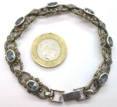 Marcasite bracelet set with blue topaz. P&P Group 1 (£14+VAT for the first lot and £1+VAT for