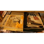Large box of ephemera including photo albums, newspapers music sheets etc. Not available for in-