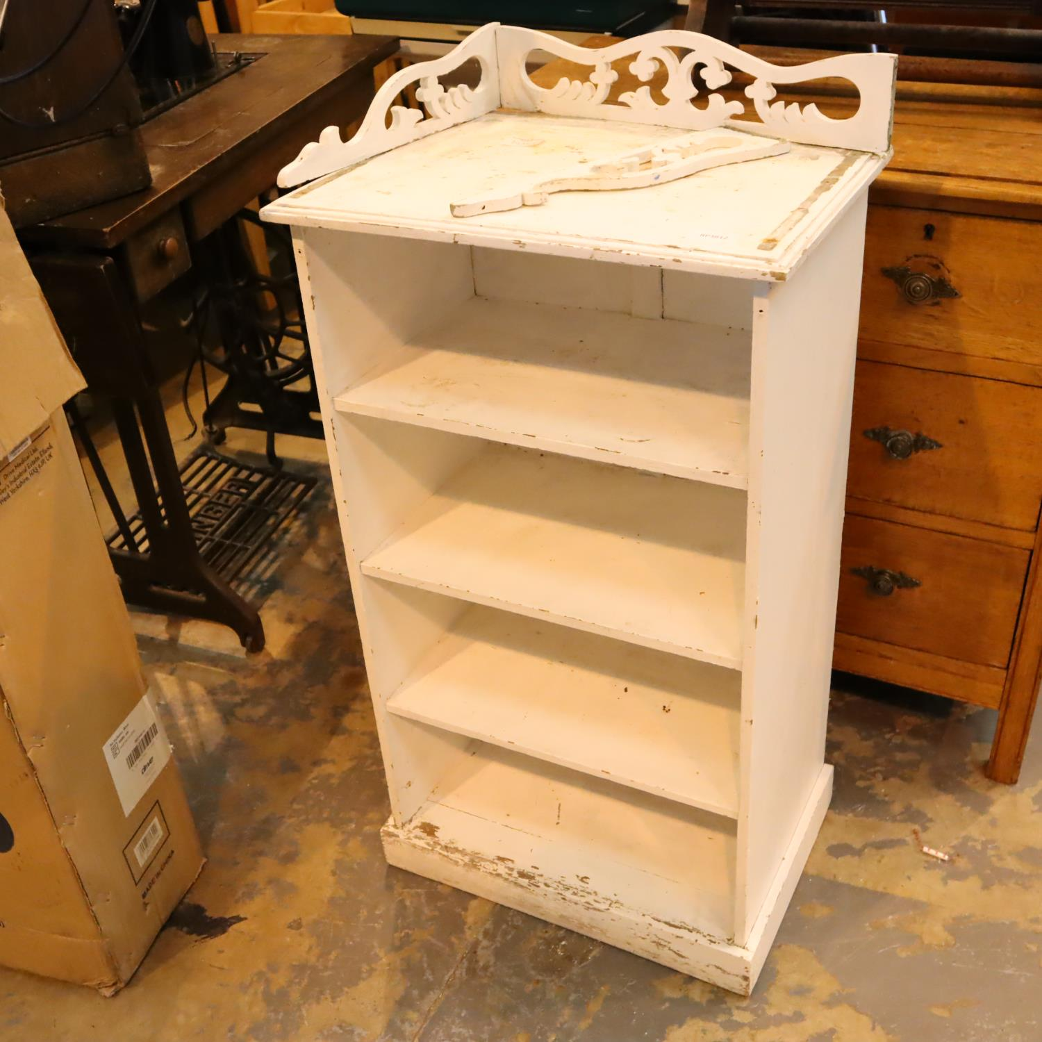 French shabby chic shelves with pierced gallery. Not available for in-house P&P, contact Paul O'