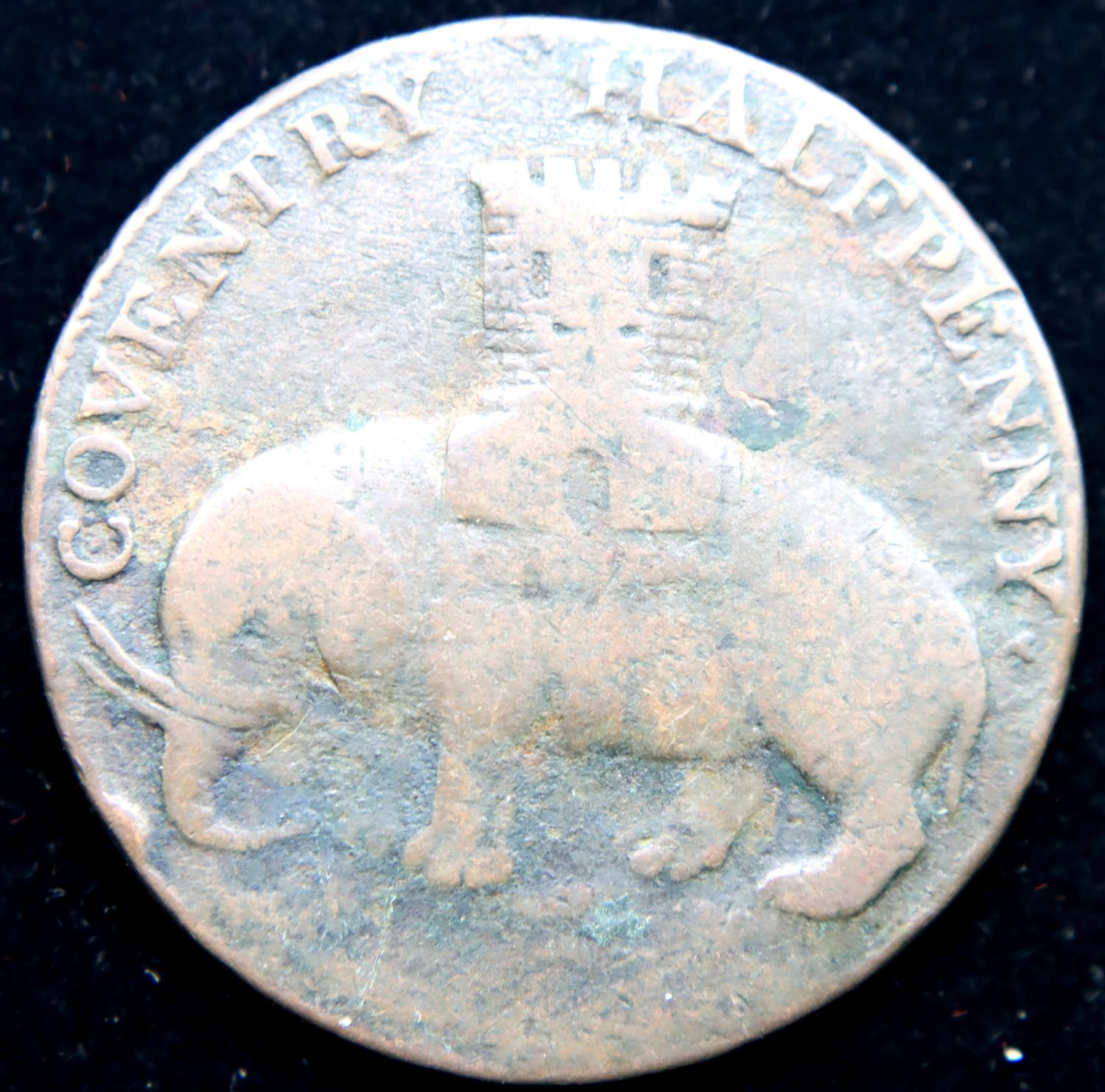 1799 - Copper Half Penny for Coventry - Castle/Elephant. P&P Group 1 (£14+VAT for the first lot - Image 2 of 2