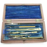 Mahogany boxed drawing set. P&P Group 1 (£14+VAT for the first lot and £1+VAT for subsequent lots)