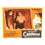 CHAMPION lobby card; close up of featuring boxer Kirk Douglas, Noir boxing classic. P&P Group 1 (£