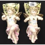 Pair of cherub wall pockets, H: 22.5 cm. Not available for in-house P&P, contact Paul O'Hea at