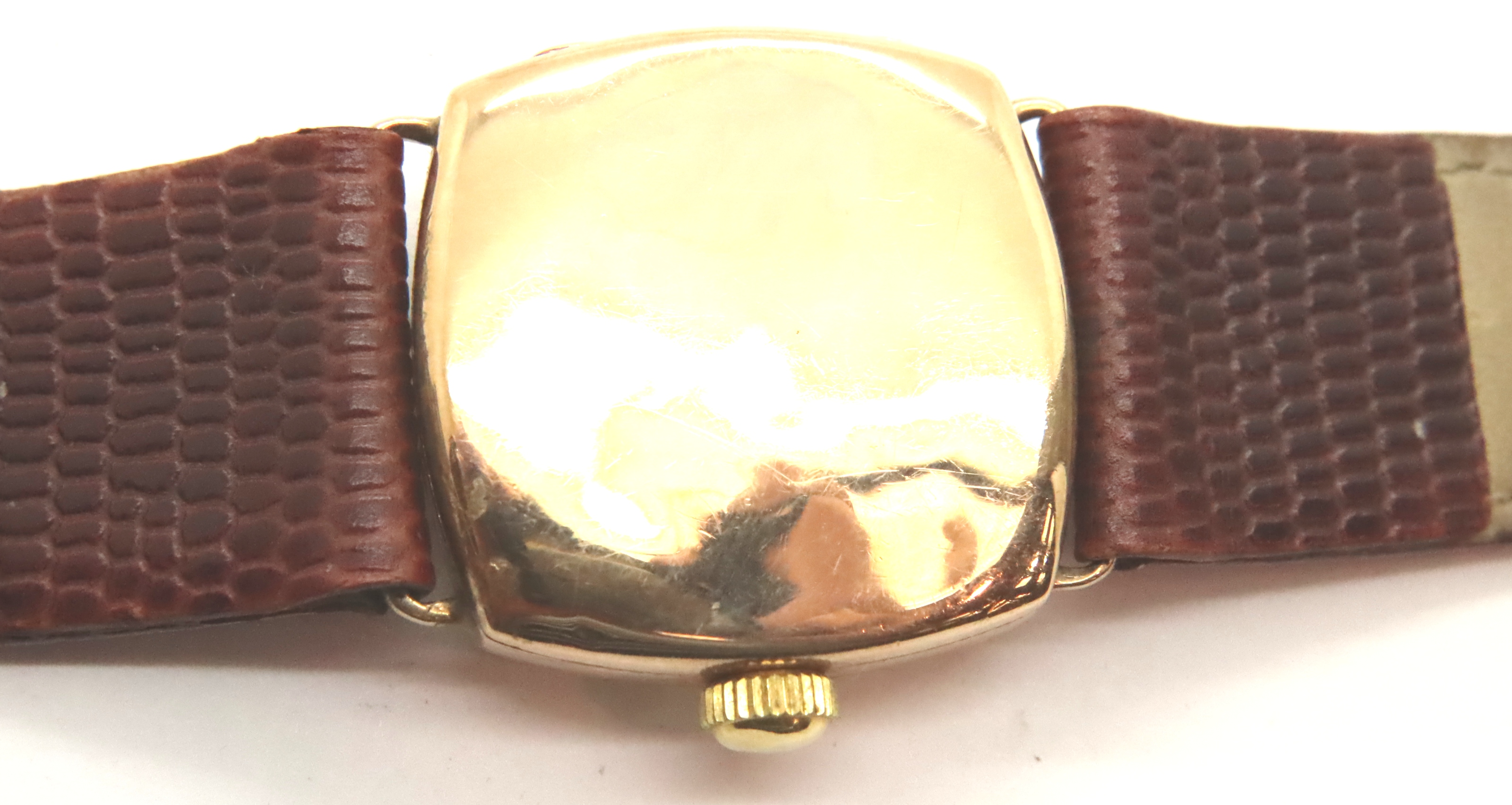 1950s 9ct gold Rolex wristwatch on leather strap in working order. P&P Group 1 (£14+VAT for the - Image 2 of 2