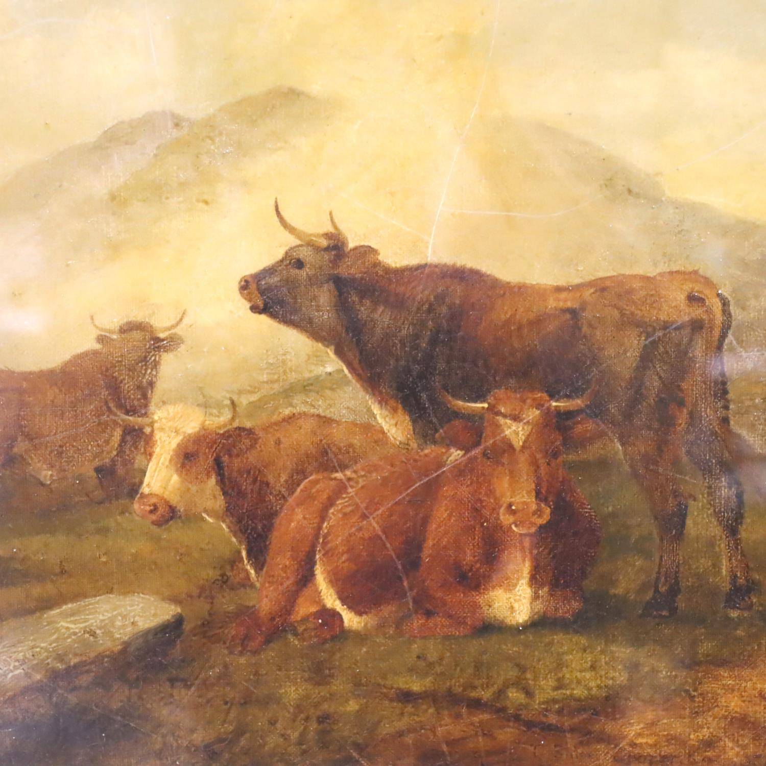 Thomas Sidney Cooper oil on canvas (b.1803 - d.1902), recumbent cattle signed to lower portion, T