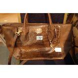 Original dark brown crocodile effect leather shoulder/handbag. P&P Group 1 (£14+VAT for