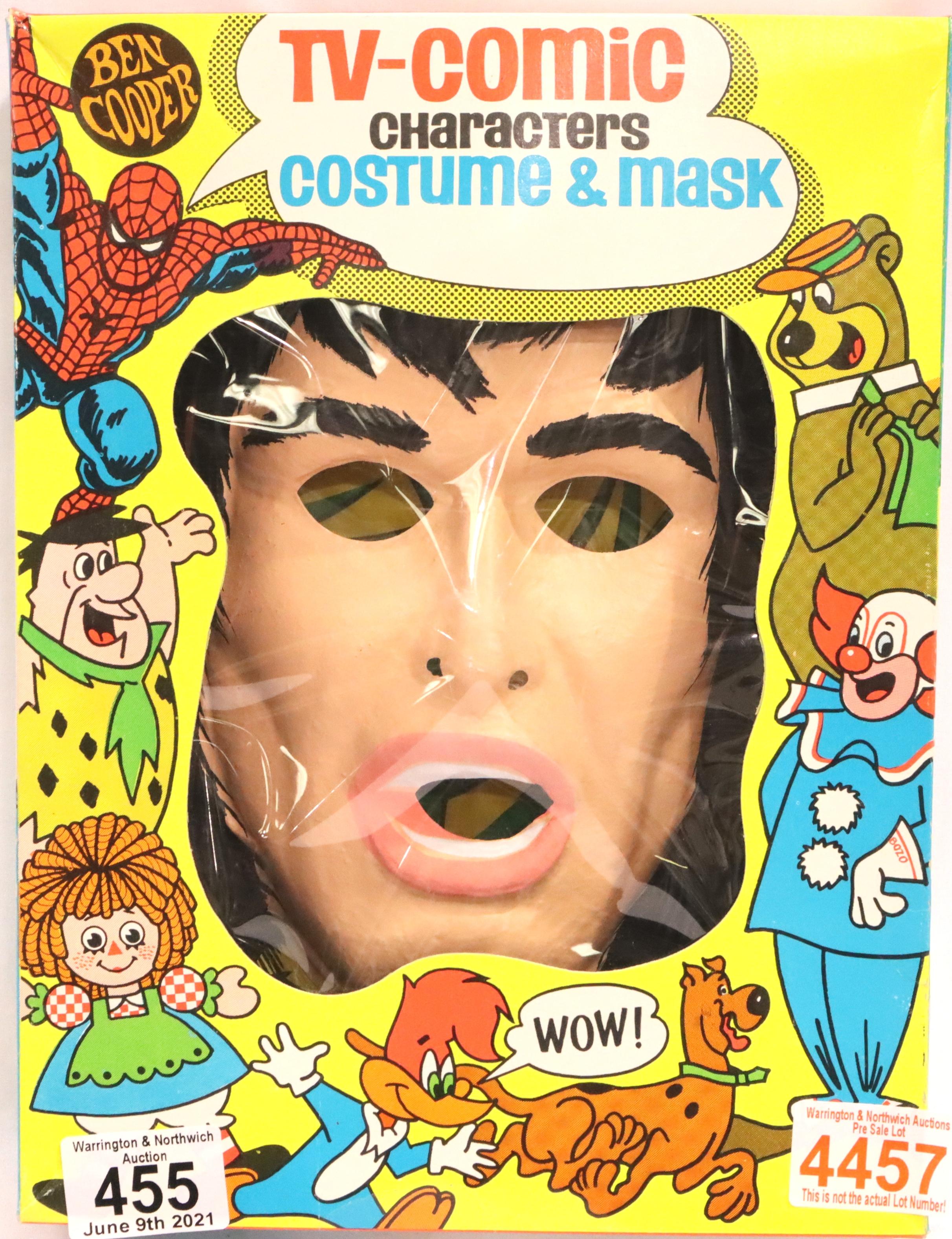 TARZAN; Ben Cooper character costume and childrens halloween mask of Ron Ely TVs first Tarzan c1966.