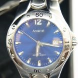 Gentlemans Accurist stainless steel wristwatch. P&P Group 1 (£14+VAT for the first lot and £1+VAT