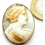 Yellow metal cameo brooch, 6.8g. P&P Group 1 (£14+VAT for the first lot and £1+VAT for subsequent