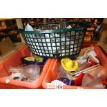 Two large boxes of household, glasses, cups etc and a large basket of similar items. Not available