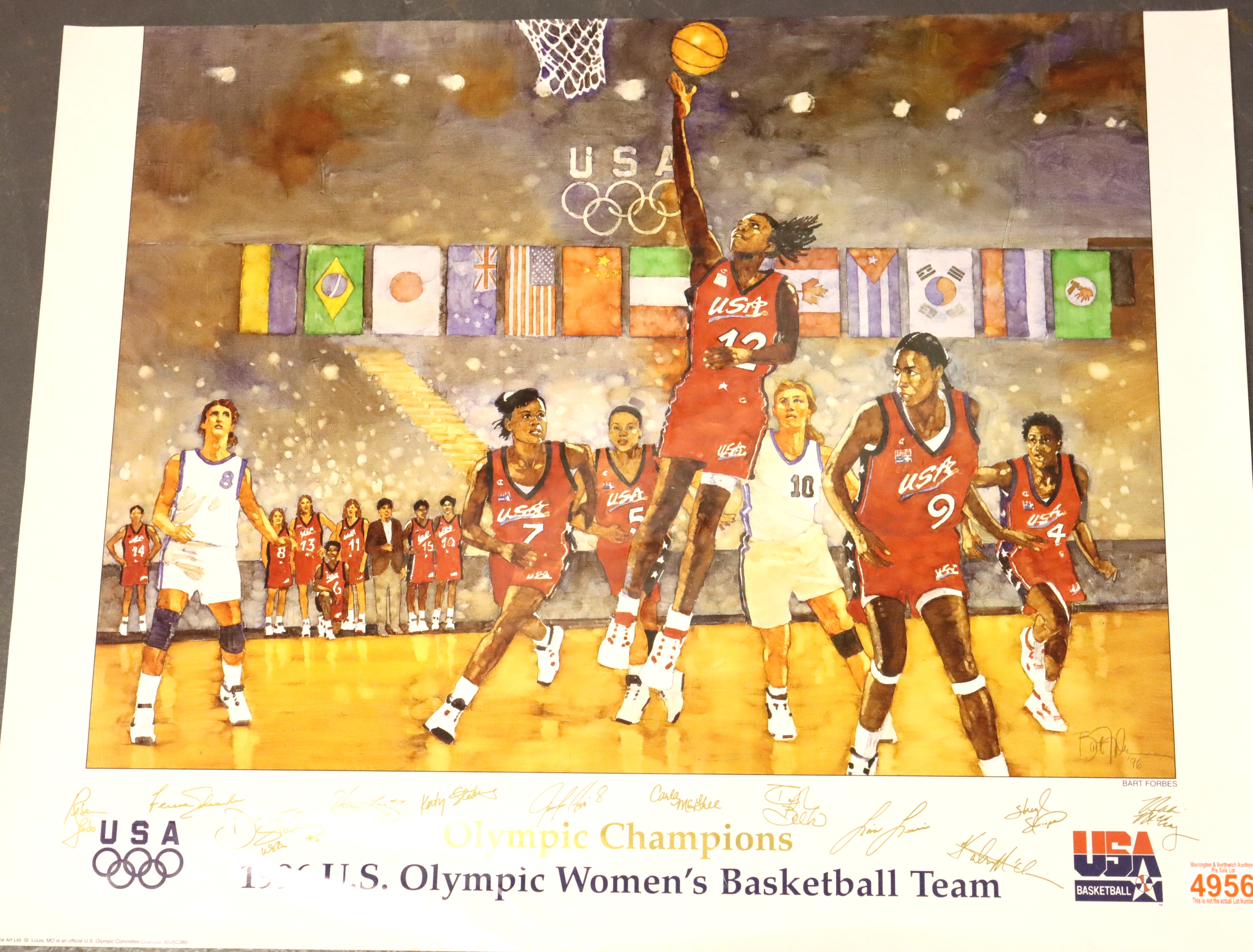 1996 Summer Olympics 22 x 28 special poster 1996 The Olympic Basketball Champions by Forbes. P&P