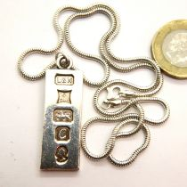 Silver ingot necklace. P&P Group 1 (£14+VAT for the first lot and £1+VAT for subsequent lots)