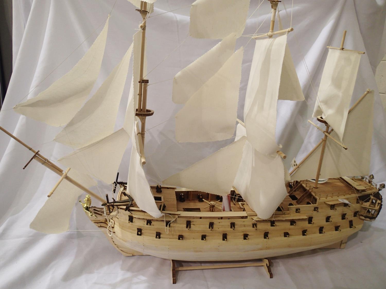 Norske Love kit built billing boat, static wooden model, L: 110 cm. Not available for in-house P&