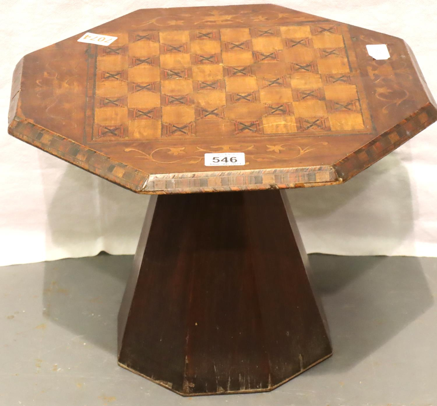 Scratch built inlaid chess top table. 43 x 43 x 32 cm H. Not available for in-house P&P, contact