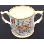 Old Staffordshire hand painted mug. P&P Group 2 (£18+VAT for the first lot and £3+VAT for subsequent