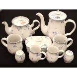 Denby blue and white tea and coffee set. Not available for in-house P&P, contact Paul O'Hea at