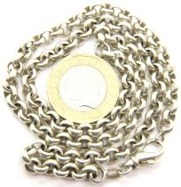 Silver 925 neck belcher chain, 31g, L: 45 cm. P&P Group 1 (£14+VAT for the first lot and £1+VAT
