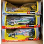 3x Assorted Burago F1 1:24 Die Cast Cars - Boxes Worn. P&P Group 1 (£14+VAT for the first lot and £