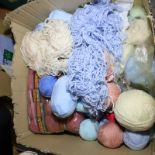 Tray of unused knitting wools including baby wool, double knit and chunky wools. Not available for
