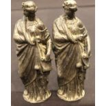 Pair of spelter roman figurines, H: 20 cm. P&P Group 2 (£18+VAT for the first lot and £3+VAT for