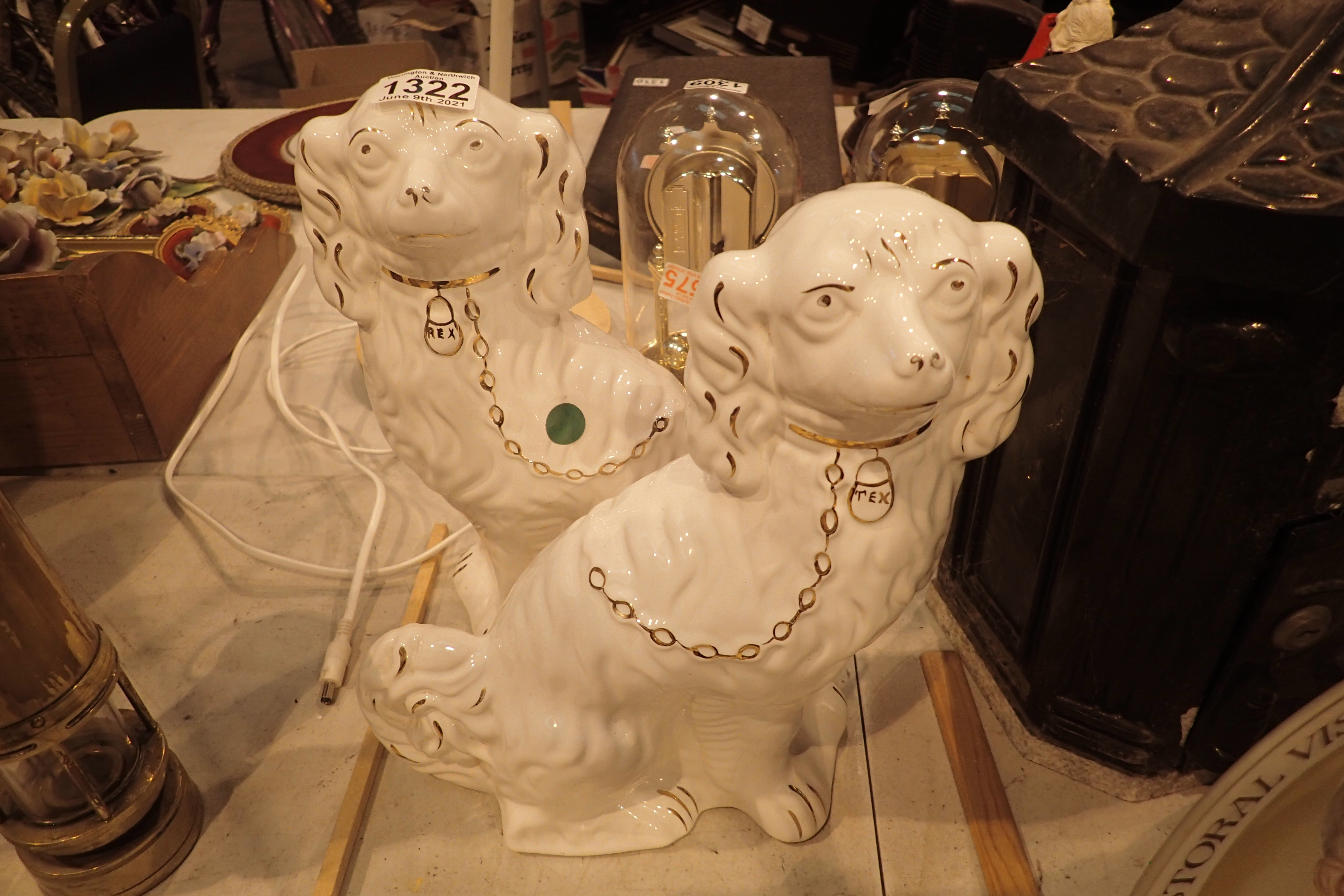Pair of Staffordshire ceramic dogs. Not available for in-house P&P, contact Paul O'Hea at