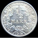 1916 - Silver Half Mark of Reich - Karlsruhe Mint. P&P Group 1 (£14+VAT for the first lot and £1+VAT