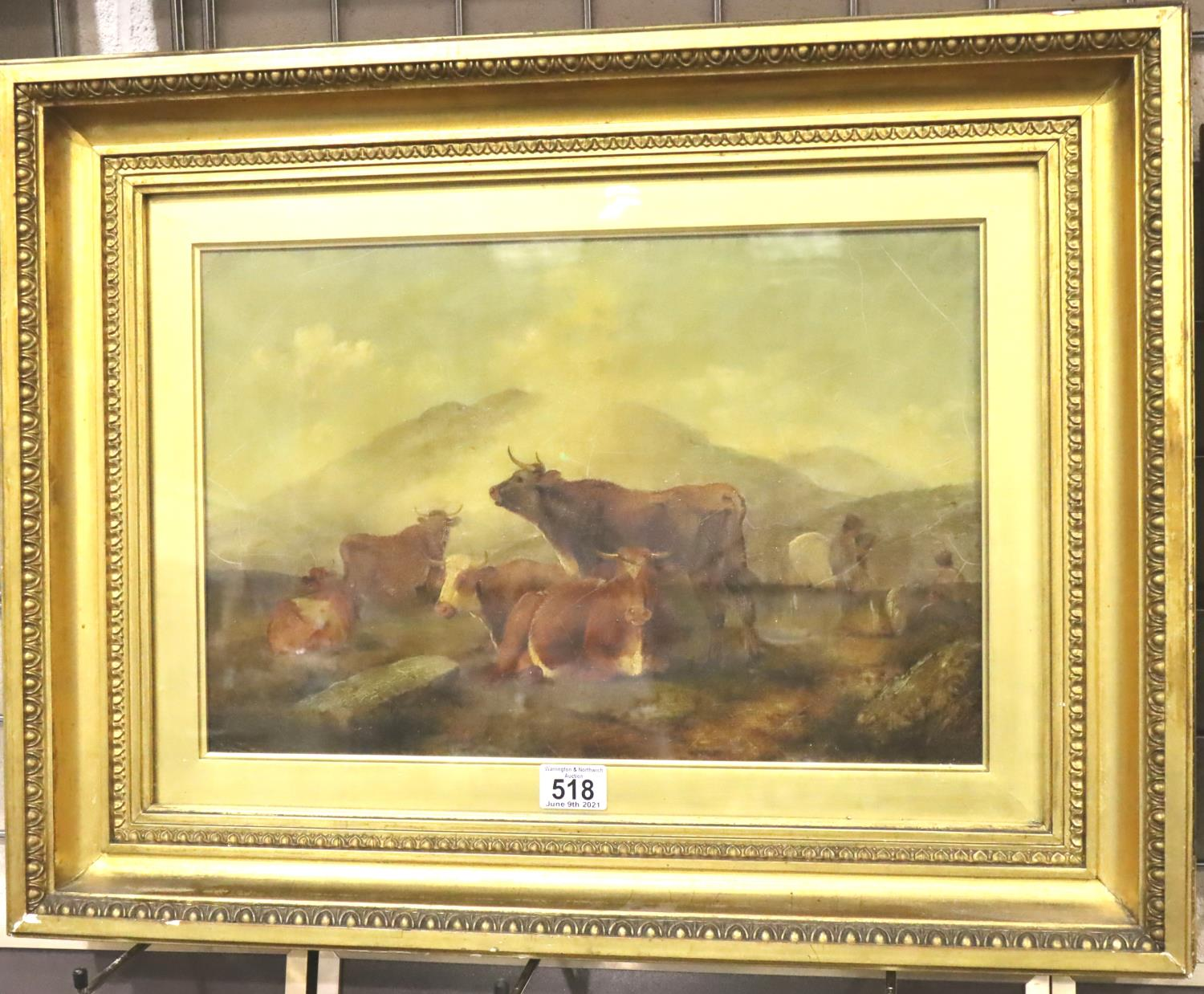 Thomas Sidney Cooper oil on canvas (b.1803 - d.1902), recumbent cattle signed to lower portion, T - Image 2 of 3